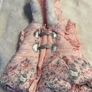 Little Lass 3-6 month Infant Girls Puffer Vest w/ hood